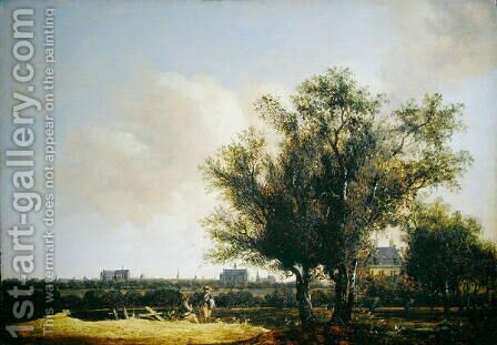 A View of Leiden with figures resting in the foreground by Anthony Jansz van der Croos - Reproduction Oil Painting