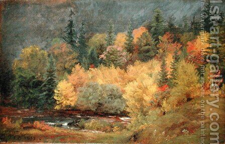 Autumn by the Brook, 1855 by Jasper Francis Cropsey - Reproduction Oil Painting