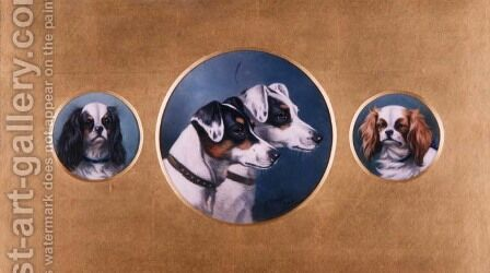 Fox Terriers and King Charles Spaniels, 1905 by Alfred Wheeler - Reproduction Oil Painting