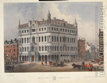The new Masonic Temple, Boston, egnraved by J.H Bufford, 1865 by (after) Wheelock, Merrill G. - Reproduction Oil Painting
