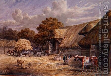 The farmyard of Mr. Harrison's Barton Farm, Buckland, near Dover, from an album of British landscapes, 1844 by Charles Gier White - Reproduction Oil Painting
