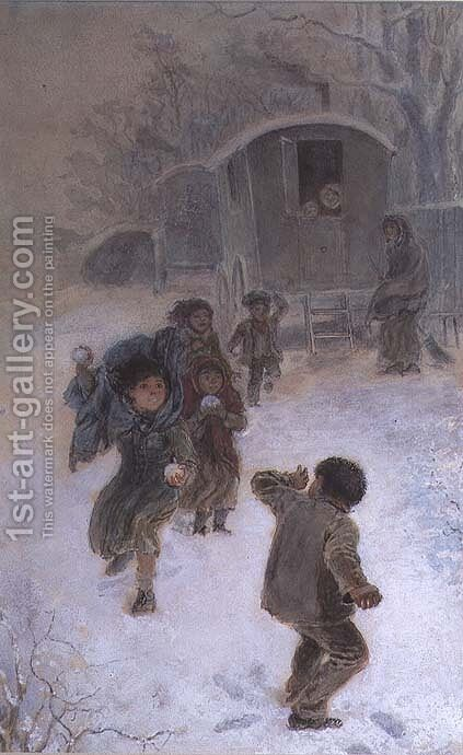 Gypsy children snowballing by Edmund Richard White - Reproduction Oil Painting