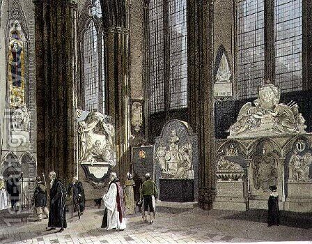 The Ninth, Tenth and Eleventh Windows in the North Aisle, plate 62 from Westminster Abbey, engraved by J. Bluck (fl.1791-1831) pub. by Rudolph Ackermann (1764-1834) 1812 by (after) White, William Johnstone - Reproduction Oil Painting