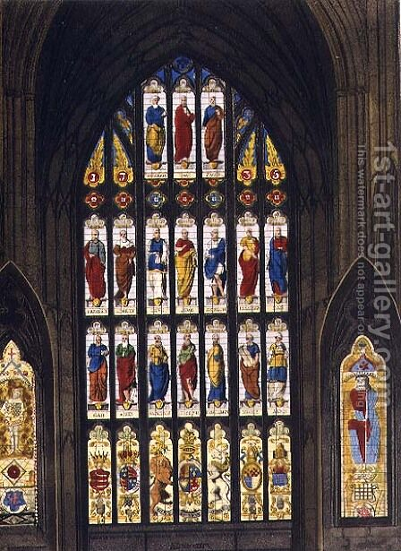 The West Windows, plate C from Westminster Abbey, engraved by J.R. Hamble (fl.1775-1825) pub. by Rudolph Ackermann (1764-1834) 1812 by (after) White, William Johnstone - Reproduction Oil Painting