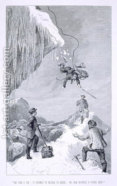 We Saw a Toe - It Seemed to Belong to Moore - We Saw Reynaud A Flying Body', from 'The Ascent of the Matterhorn by Edward Whymper, published 1860s-80s by Edward Whymper - Reproduction Oil Painting