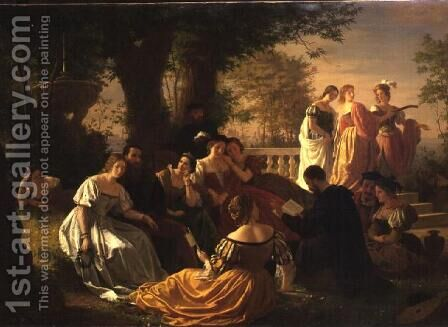 Venetian Party Reading in a Garden by Adolph Friedrich George Wichman - Reproduction Oil Painting