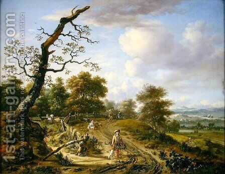 A hilly landscape with a hawking party, 1661 by Jan Wijnants - Reproduction Oil Painting