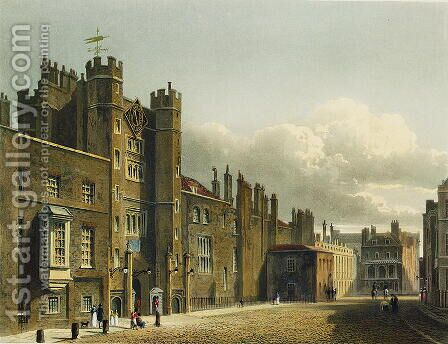 St. James's Palace, from 'The History of the Royal Residences', engraved by Richard Reeve (b.1780), by William Henry Pyne (1769-1843), 1819 by Charles Wild - Reproduction Oil Painting