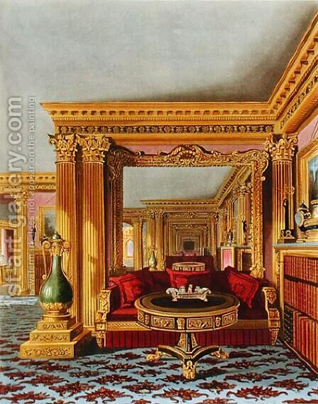 The Alcove in the Golden Drawing Room, Carlton House, from The History of the Royal Residences, engraved by William James Bennett (1787-1844), by William Henry Pyne (1769-1843), 1819 by Charles Wild - Reproduction Oil Painting