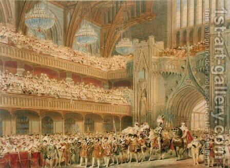 The Champion of England entering Westminster Hall by Charles Wild - Reproduction Oil Painting