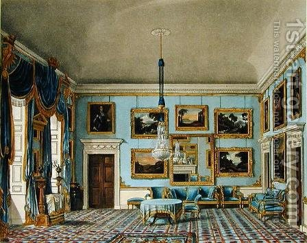 The Blue Velvet Room at Buckingham House, engraved by Daniel Havell (1785-1826), from The History of the Royal Residences of Windsor Castle, St. James Palace, Carlton House, Kensington Palace, Hampton Court and Frogmore, published by William Pyne, 1819 by Charles Wild - Reproduction Oil Painting