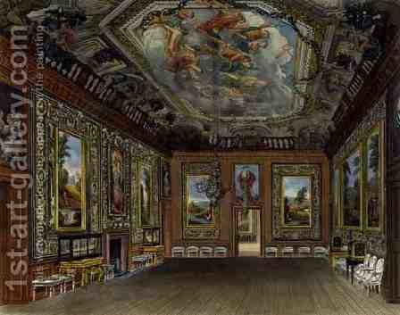 The Queens Drawing Room, Windsor Castle, from Royal Residences, engraved by Thomas Sutherland (b.1785), pub. by William Henry Pyne (1769-1843), 1816 by Charles Wild - Reproduction Oil Painting