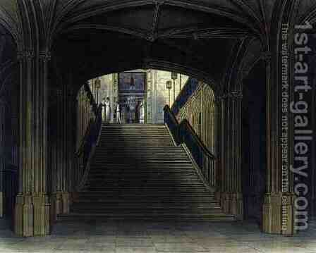 A Staircase, Windsor Castle, from Royal Residences, engraved by W. J. Bennett, pub. by William Henry Pyne (1769-1843), 1818 by Charles Wild - Reproduction Oil Painting