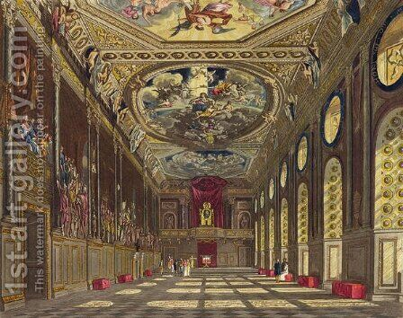 St. Georges Hall, Windsor Castle, from Royal Residences, engraved by W. J. Bennett , pub. by William Henry Pyne (1769-1843), 1816 by Charles Wild - Reproduction Oil Painting
