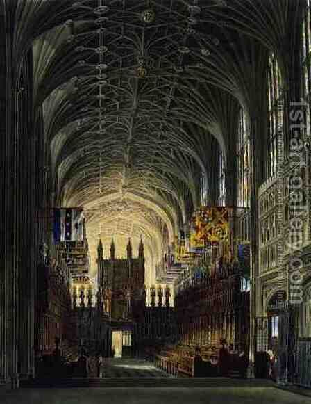 Interior of St. Georges Chapel, Windsor Castle, from 'Royal Residences', engraved by Thomas Sutherland (b.1785), pub. by William Henry Pyne (1769-1843), 1819 by Charles Wild - Reproduction Oil Painting