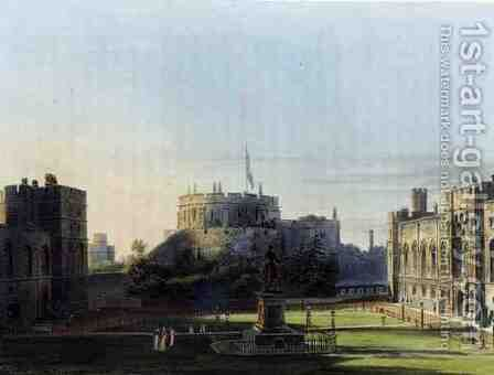The Upper Ward, Windsor Castle, from Royal Residences, engraved by Thomas Sutherland (b.1785), pub. by William Henry Pyne (1769-1843), 1819 by Charles Wild - Reproduction Oil Painting