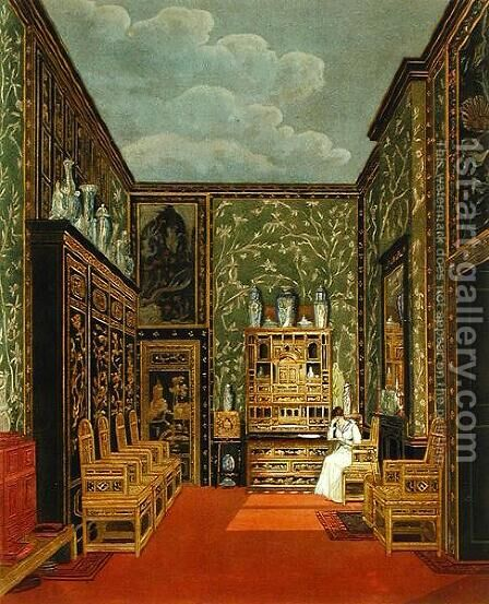 The Green Closet at Frogmore from Pynes The History of Royal Residences engraved by William James Bennett (1787-1844), published in 1819 by Charles Wild - Reproduction Oil Painting