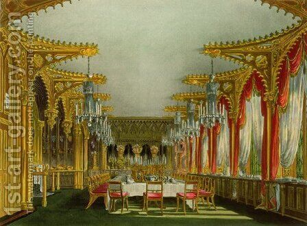 The Gothic Dining Room at Carlton House from Pyne's 'Royal Residences' engraved by Thomas Sutherland (b.c.1785), published in 1819 by Charles Wild - Reproduction Oil Painting