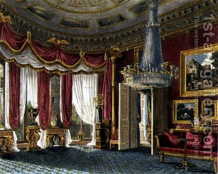 Rose Satin Drawing Room (second view) Carlton House, engraved by R. Reeve (fl.1811-37) from 'The History of the Royal Residences by William Henry Pyne (1769-1843) pub. 1818 by Charles Wild - Reproduction Oil Painting