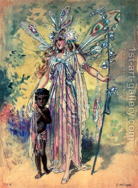 "Titania, costume design for ""A Midsummer Night's Dream"", produced by R. Courtneidge at the Princes Theatre, Manchester by C. Wilhelm - Reproduction Oil Painting"