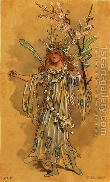 A Fairy, costume design for A Midsummer Nights Dream, produced by R. Courtneidge at the Princes Theatre, Manchester 2 by C. Wilhelm - Reproduction Oil Painting