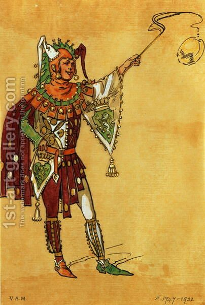 Costume design for a jester for A Midsummer Nights Dream, c.1881-93 by C. Wilhelm - Reproduction Oil Painting