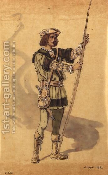"Orlando, costume design for Shakespeare's ""As You Like It"", produced by R. Courtneidge at the Princes Theatre, Manchester by C. Wilhelm - Reproduction Oil Painting"