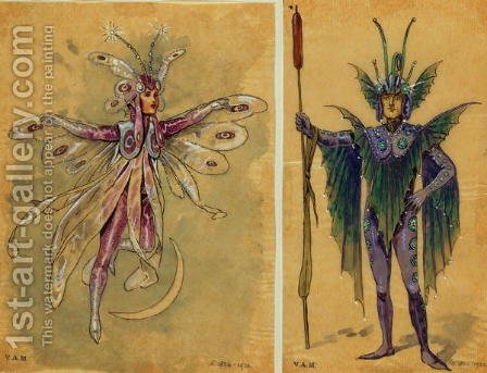 Two costume designs for fairies from 'A Midsummer Night's Dream', produced by R. Courtneidge at the Princes Theatre, Manchester by C. Wilhelm - Reproduction Oil Painting