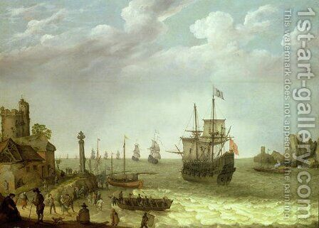 Settlement on a rocky shore with the Dutch fleet approaching, 1640 by Abraham Willaerts - Reproduction Oil Painting