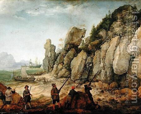 Detail of Wild goat hunting on the coast, 1620 by Adam Willaerts - Reproduction Oil Painting