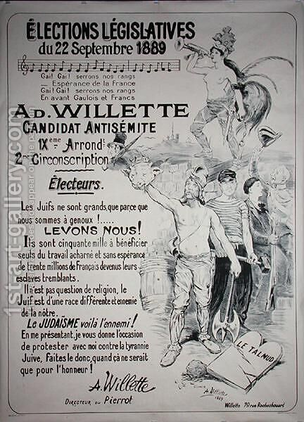 Poster promoting the election of the artist in the Legislative Elections of September 1889 by Adolphe Willette - Reproduction Oil Painting