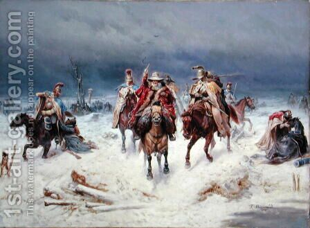 French Forces Crossing the River Berezina in November 1812, 1891 by Bogdan Willewalde - Reproduction Oil Painting