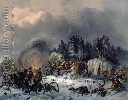Scene from the Russian-French War in 1812 by Bogdan Willewalde - Reproduction Oil Painting