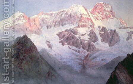 Monte Rosa at Sunrise from above Alagna by Alfred Gibson William - Reproduction Oil Painting