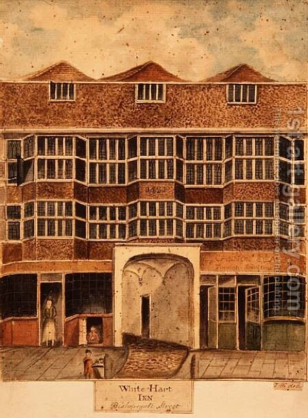 White Hart Inn, Bishopsgate Street, c.1810 by J. Williams - Reproduction Oil Painting