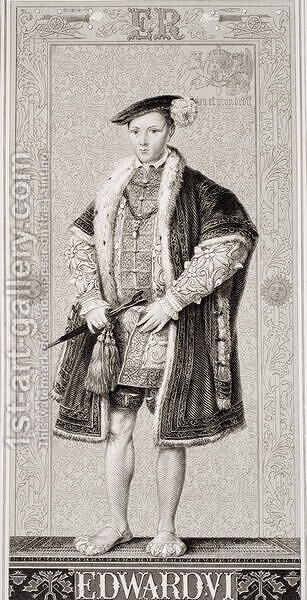 Edward VI (1537-53) from Illustrations of English and Scottish History Volume I by (after) Williams, J.L. - Reproduction Oil Painting