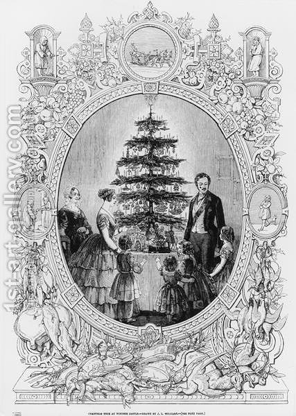 Christmas Tree at Windsor Castle, 1848 by (after) Williams, J.L. - Reproduction Oil Painting