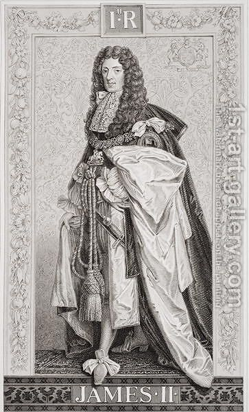 James II (1633-1701) from Illustrations of English and Scottish History Volume I by (after) Williams, J.L. - Reproduction Oil Painting