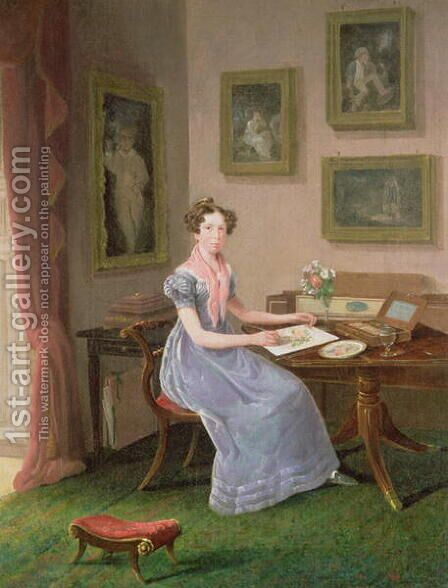 Self portrait of the artist painting at her desk by I.J. Willis - Reproduction Oil Painting