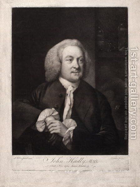 John Hadley, illustration from A Collection of Portraits of Medical Men, compiled by Sir John William Thomson-Walker by Benjamin Wilson - Reproduction Oil Painting
