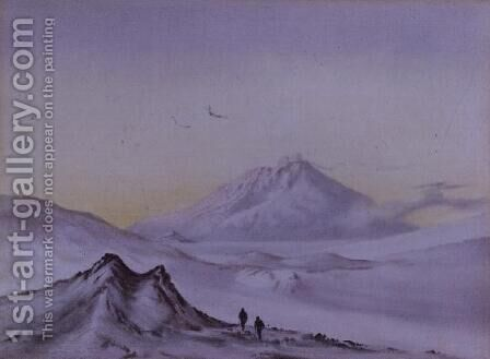 Mount Erebus from Hut Point, March 1911 by Edward Adrian Wilson - Reproduction Oil Painting