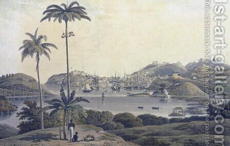 A View of the Town of St. George on the Island of Grenada, taken from the Belmont Estate, engraved by William Daniell (1769-1837), c.1810 by (after) Wilson, Lieutenant-Colonel J. - Reproduction Oil Painting