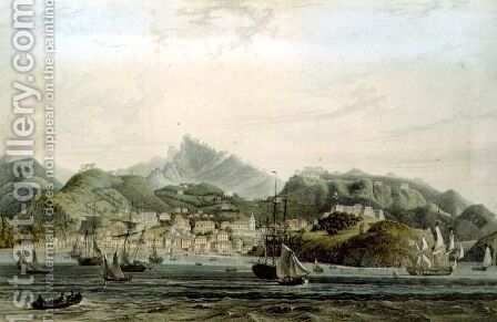 A View of the Town of St. George and Richmond Heights on the island of Grenada, engraved by William Daniell (1769-1837), c.1810 by (after) Wilson, Lieutenant-Colonel J. - Reproduction Oil Painting