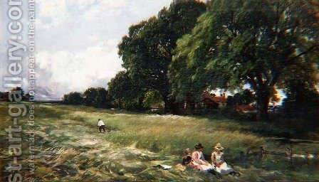 Hayfield at Danbury, Essex, 1890 by Edmund Morison Wimperis - Reproduction Oil Painting