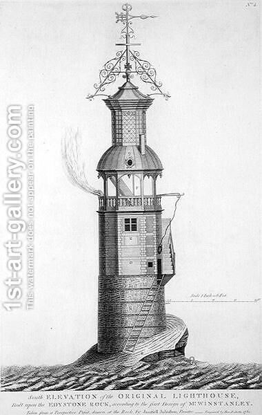 Edystone Lighthouse engraved by Henry Roberts (fl.1761), 1761 by (after) Winstanley, Henry - Reproduction Oil Painting