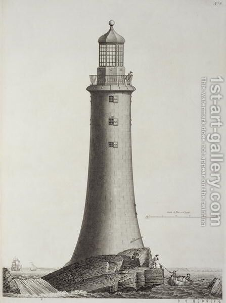 Edystone Lighthouse engraved by Edward Rooker (c.1712-74), 1763 2 by (after) Winstanley, Henry - Reproduction Oil Painting