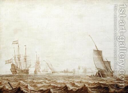 A Wijdschip Lowering Sail in a Choppy Sea, mid-17th century by Heerman Witmont - Reproduction Oil Painting
