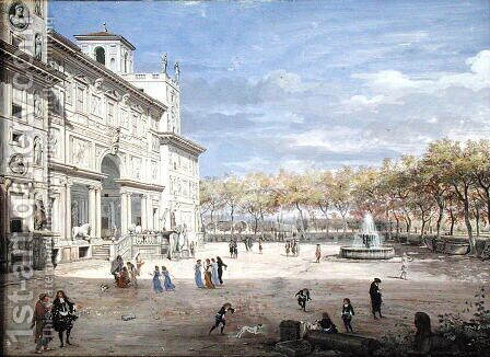 The Villa Medici, Rome, 1685 by Caspar Andriaans Van Wittel - Reproduction Oil Painting