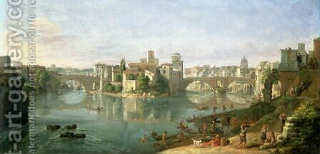 The Tiberian Island in Rome, 1685 by Caspar Andriaans Van Wittel - Reproduction Oil Painting