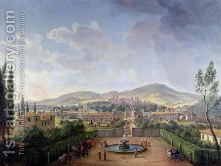 View of Marino, 1719 by Caspar Andriaans Van Wittel - Reproduction Oil Painting